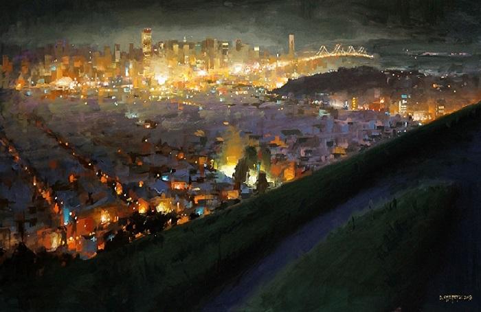 Ночной город. Художник: David Cheifetz.
