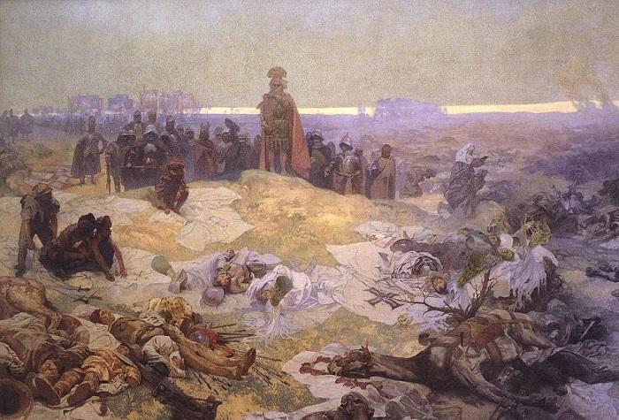 «После Грюнвальдской битвы», 1924. (Из цикла «Славянская эпопея»). Художник: Альфонс Муха.
