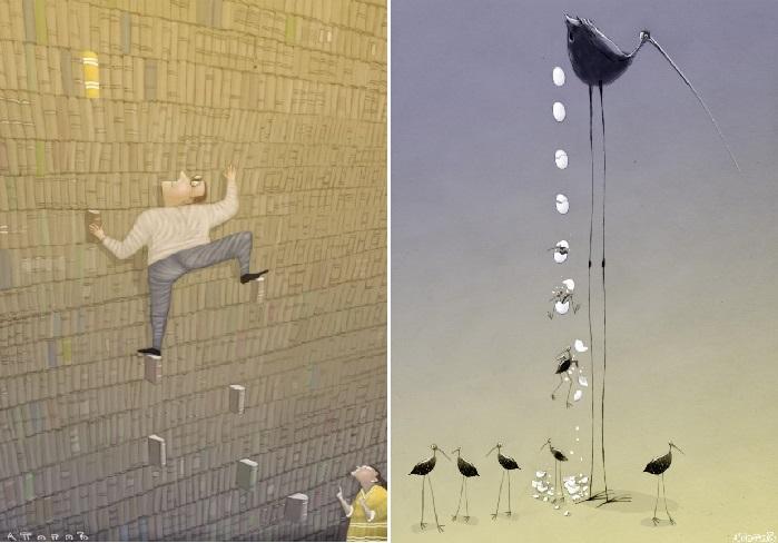 Карикатуры Андрея Попова. | Фото: dotart.info/ru.