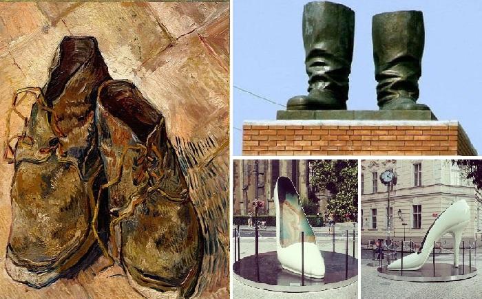От старых изношенных башмаков Ван Гога ... до изящной женской туфельки...