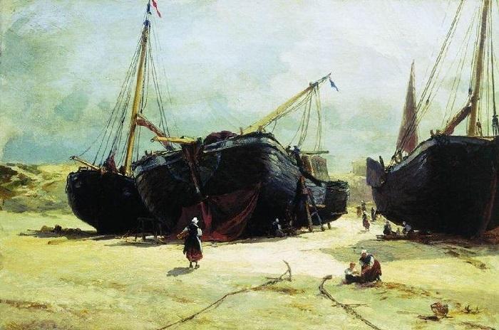 «Схевенинген. Починка рыбачьих судов», (1877) — Саратовский художественный музей. Автор: Александр Беггров.
