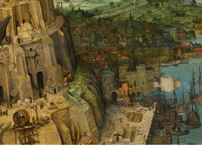 . «Вавилонская башня». Фрагмент. (Входящие впорт суда изображены сопущенными парусами, что символизирует безысходность иобманутые надежды.)
