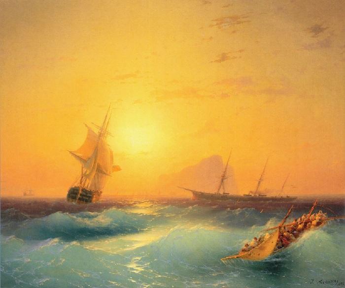 «Американские суда у скалы Гибралтара». 1873г.  Иван Айвазовский