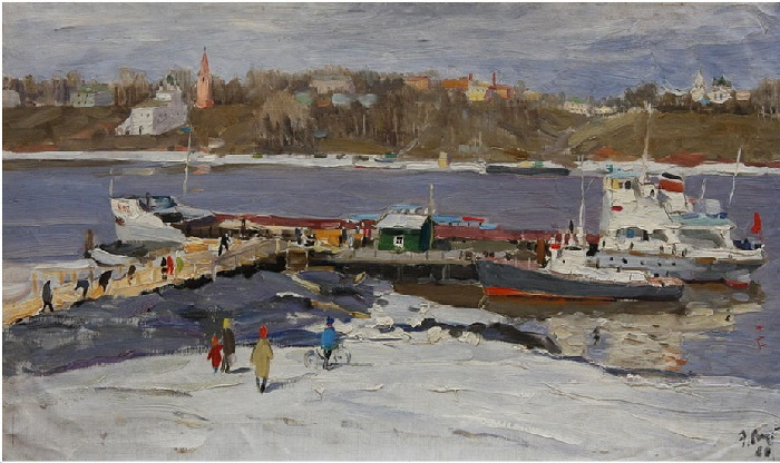 Волга ранней весной. На пристани.  Холст, масло. Автор: Эдвард Выржиковский.