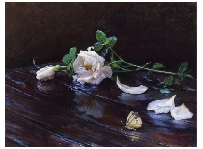 Чайная роза.Натюрморт от К. Мирошник и Н. Кургузовой-Мирошник.