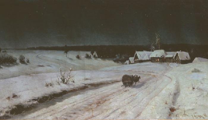 «Морозная ночь» (1884 год).  Художник: Владимир Казанцев.