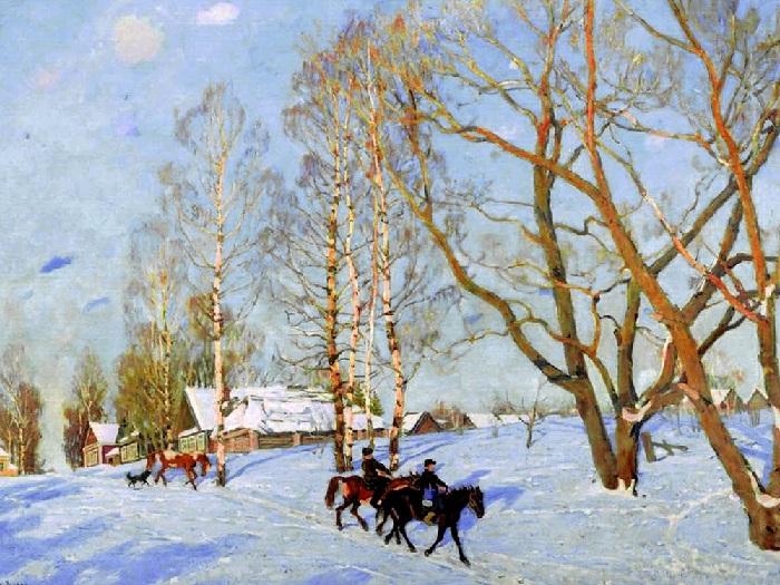 Мартовское солнце. (1915 год). Автор: Константин Юон.