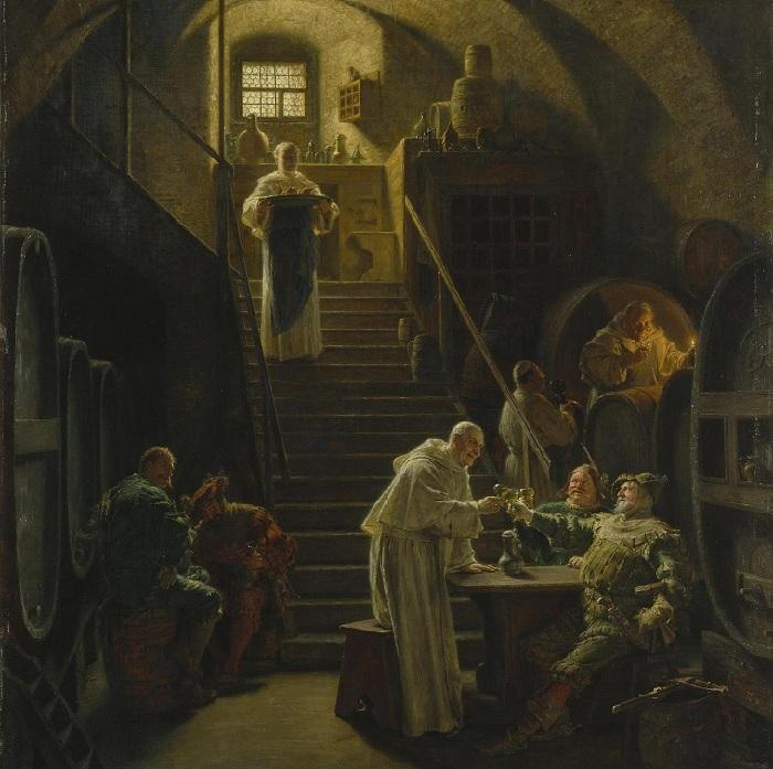В гостях у монахов. Автор: Эдуард фон Грютцнер.