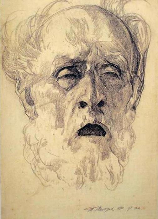 Предсмертный портрет отца. Графический рисунок Ивана Мясоедова.