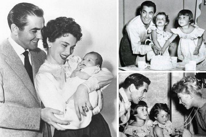 Тайрон Пауэр и Линда Кристиан с дочерьми Роминой и Тарин.