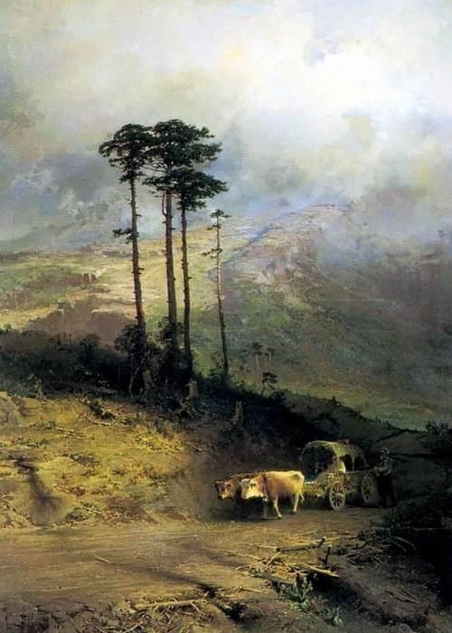 «В Крымских горах». (1873 год). /Последняя работа мастера/. Автор: Федор Васильев.