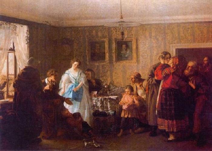 Поздравление молодых в доме помещика. 1861 год. Русский музей, Санкт-Петербург. Автор: Г.Г. Мясоедов.