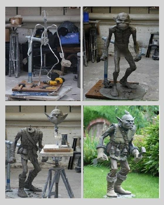 Процесс изготовления формы для скульптурной композиции.