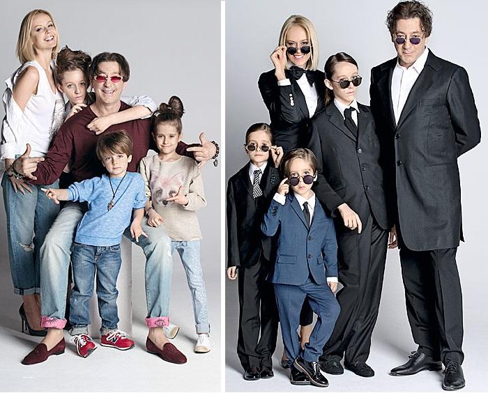 Григорий Лепс с женой Анной и детьми.