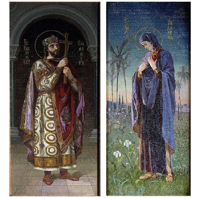 Мозаичные панно,<br>созданные по эскизам Н. Бодаревского в храме Спаса на Крови.