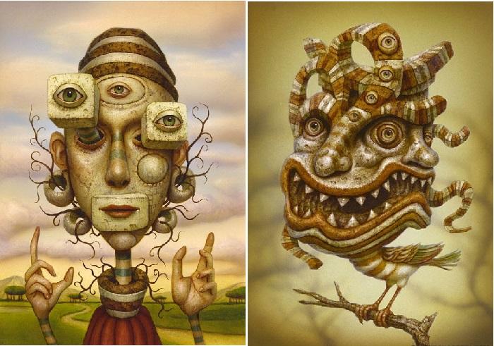 Монстры созерцающие мир<br>множеством гипертрофированных глаз, будто окунают зрителя в поток психоделических метаморфоз. Автор: Naoto Hattori.