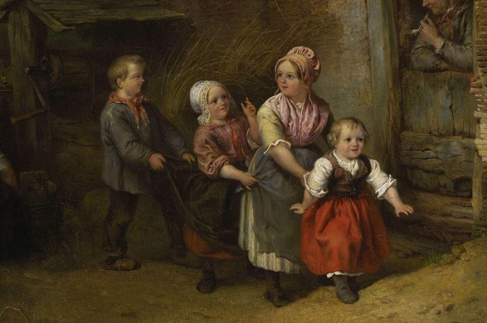Фердинанд  де Бракелеер (1792-1883) . Бельгия. Игры детей перед домом.