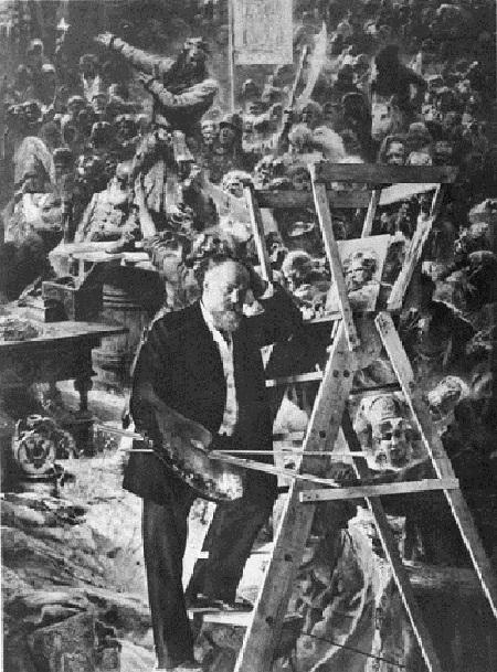 Константин Маковский в мастерской за работой над картиной.