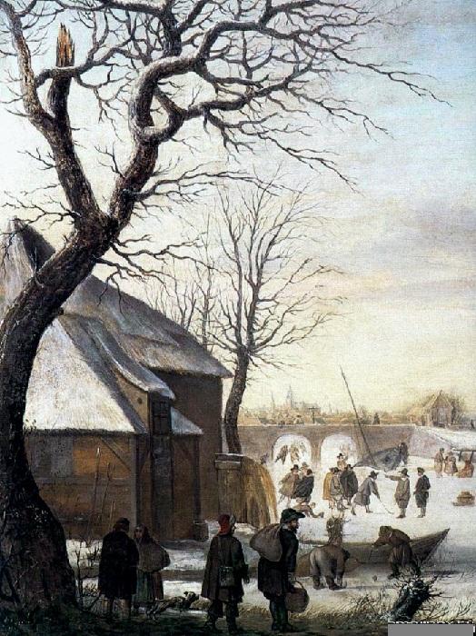 Зимний пейзаж.  Дерево, масло. 75 x 51 см. Пинакотека Амброзиан, Милан.