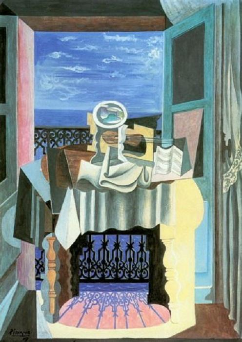 Натюрморт у окна в Сан-Рафаэле. (1919 г). Автор:  Пабло Пикассо.