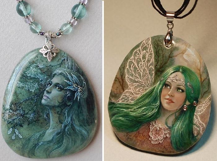 Кулон Driada. / Фея с изумрудными волосами и зелеными глазами, пемдамт. Автор: Светлана Беловодова.