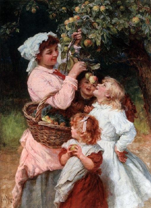 Яблоки в саду. Автор: Фредерик Морган.