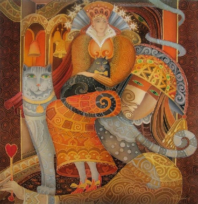 «Любимые коты». Роспись по шелку (батик). Автор: Любовь Тощева.