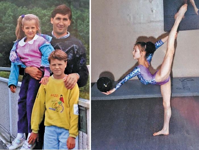 С отцом, Александром Кожевниковым, и братом Андреем. / На тренировке по художественной гимнастике. Фото: Из личного архива Марии Кожевниковой.