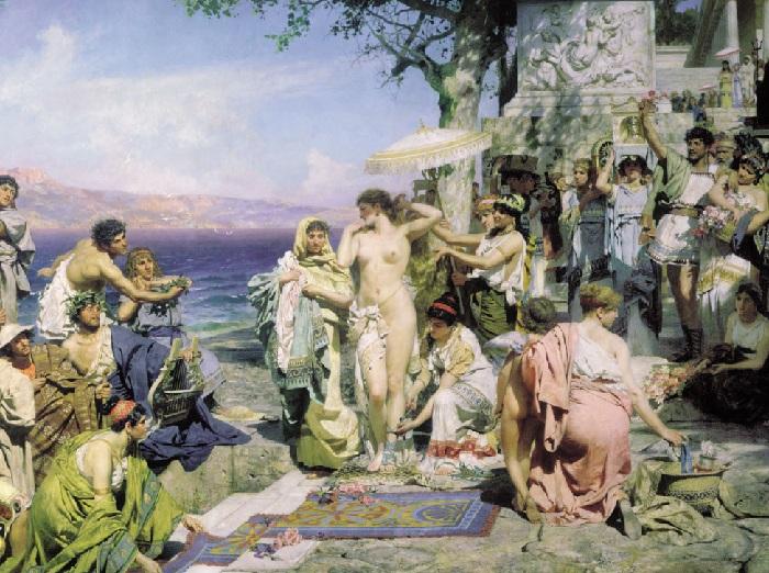 Фрина на празднике Посейдона в Элевсине. (1889 год). Автор: Генрих Семирадский.