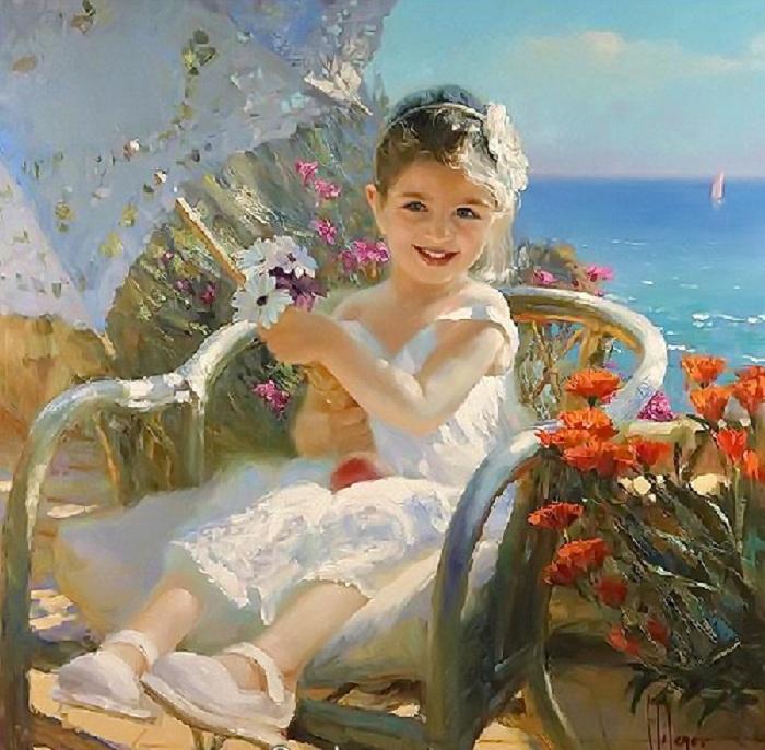 «Мой дружочек, мой цветочек, красотулечка моя! Много есть на свете дочек, но одна ты у меня!»<br>Солнечная живопись от Владимира Волегова.
