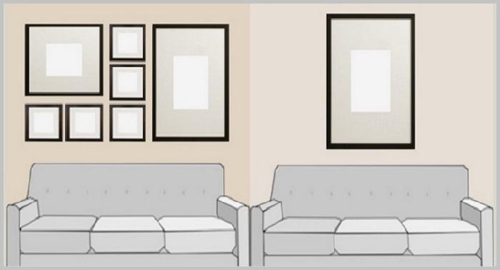Схемы размещения картин в помещении. |Фото: roomester.ru.