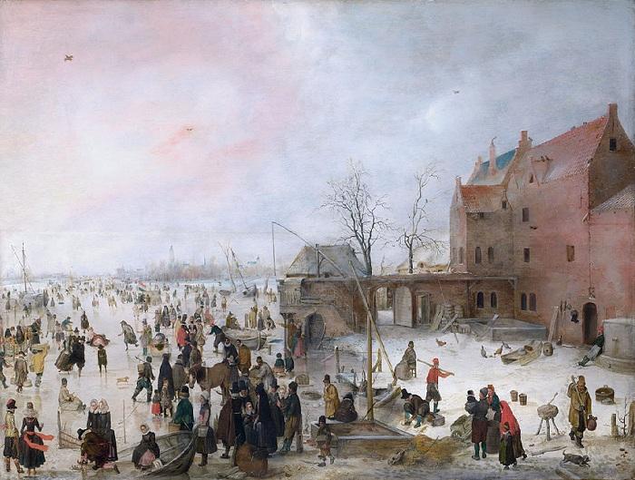 «На льду у городских стен». 1610 год. Размер картины 58 x 90 см, дерево, масло.