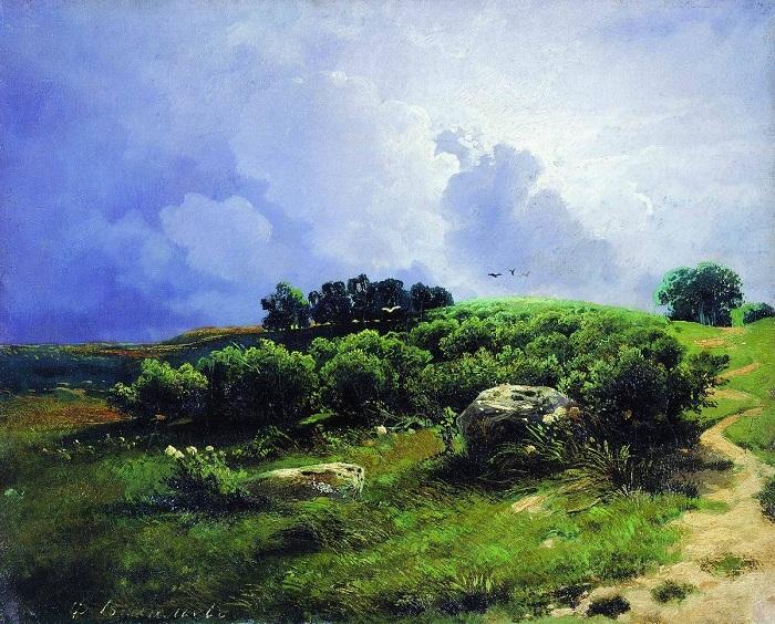 «Перед грозой». (1869 год). Автор: Федор Васильев.