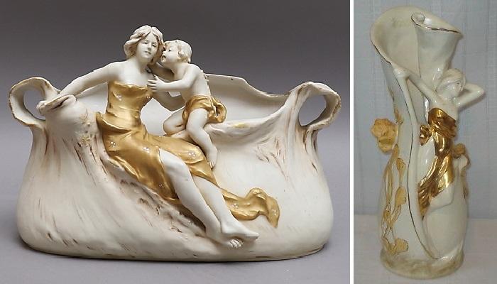 Старинные богемские вазы. Фарфор Royal Dux.| Фото: expertissim.com.