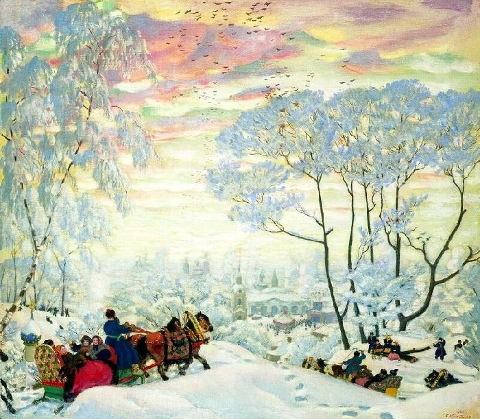 «Зима». 1916 год. Художник Б. М. Кустодиев.