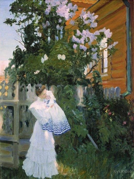 """Знаменитое """"Утро"""", изображающее молодую жену с маленьким сыном, было написано Кустодиевым в Париже, в 1904 году."""