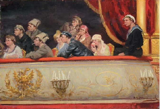 В театре. Царская ложа. (1918). Автор: Иван Владимиров.