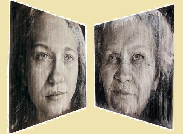 Молодость и Старость. Трехмерные портреты художника Серджи Каденаса. | Фото: realsworld.com.
