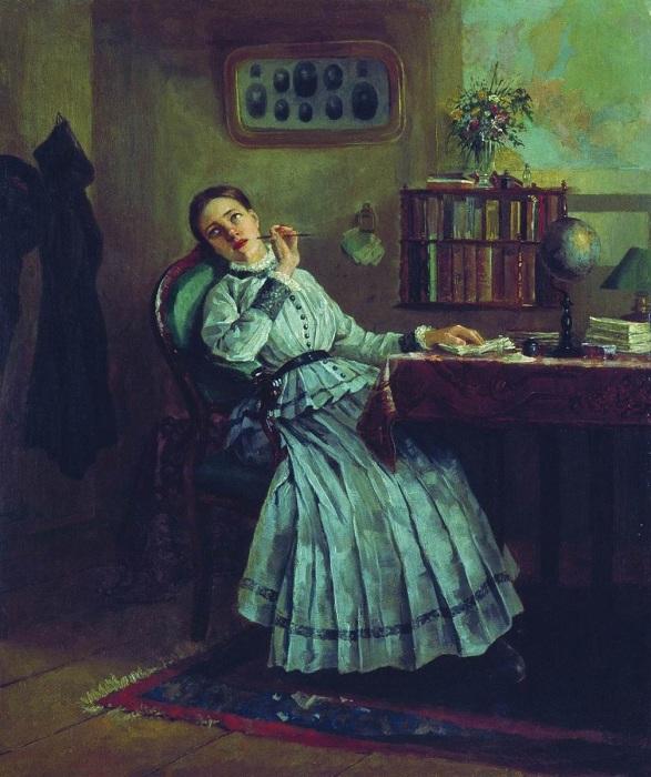 «Замечталась». (1884). Автор: Фирс Журавлев.