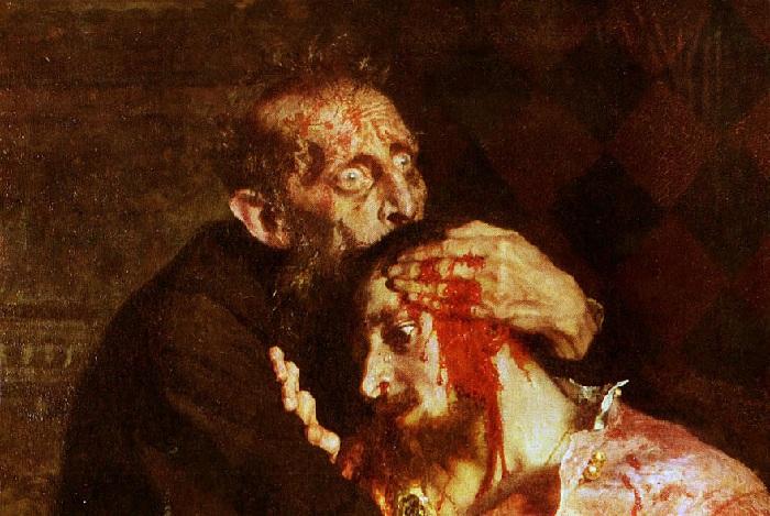 Иван Грозный убивает сына. Автор Илья Репин.