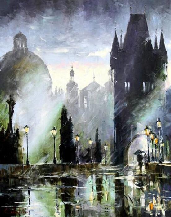 Живопись от Gleba Goloubetski из серии *Прогулки под дождем.*