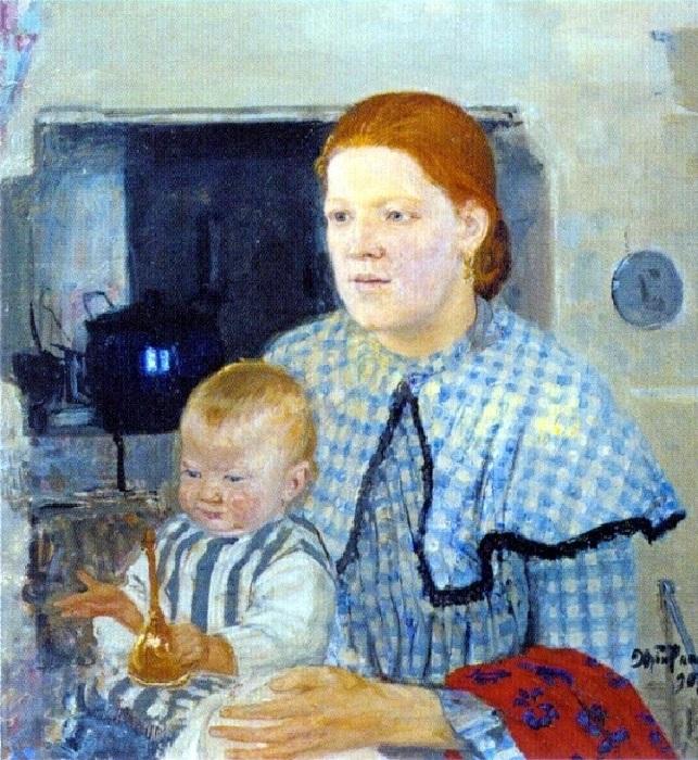 Семейный портрет  (жена Прасковья и сын Гай). (1907 год).  Автор: Юрий Репин.