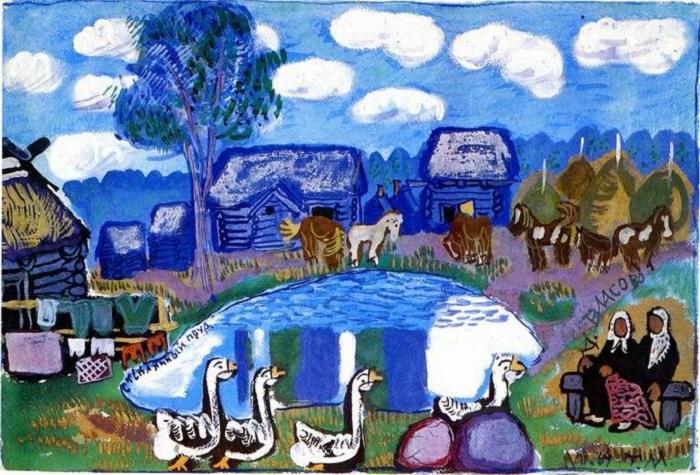 Стеклянный пруд. Живопись Татьяны Мавриной.