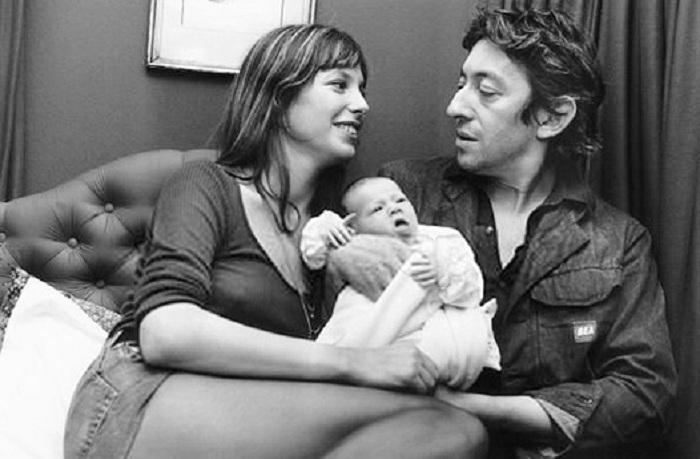 Серж Генсбур, Джейн Биркин и маленькая Шарлотта.
