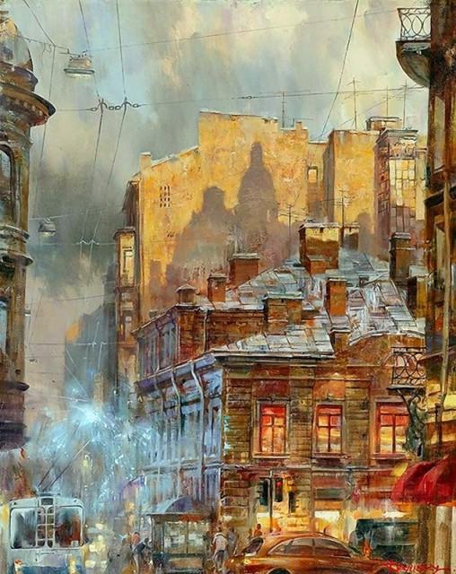 Город на закате дня.  Автор: Иван Славинский