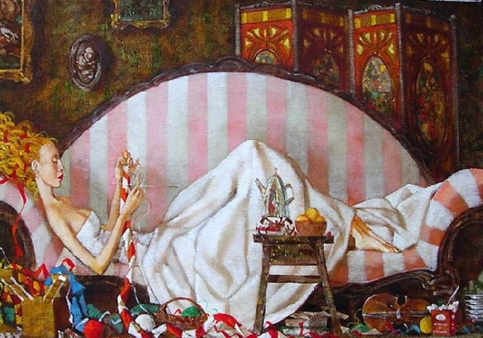 Canape aux rayures roses. Художник Роман Заслонов.   Фото: culbyt.com.