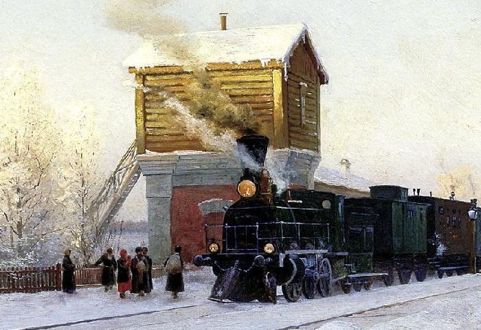 «На полустанке. Зимнее утро на Уральской железной дороге». Фрагмент.