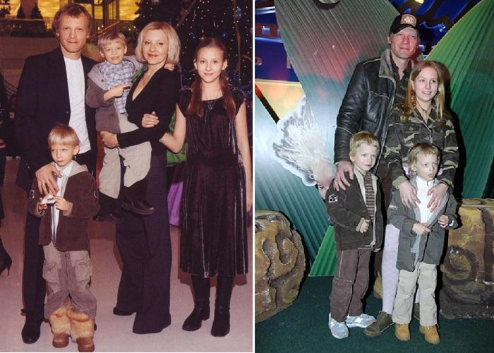 Алексей Серебряков со своей супругой Марией и детьми.