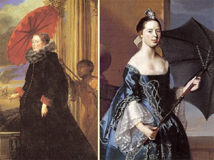 Автор: Антонис Ван Дейк «Портрет маркизы Елены Гримальди» (1623). / Автор: Джон Синглтон Копли «Портрет Мэри Таппан» (1763).