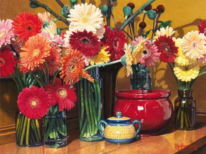 Цветочные натюрморты Эрика Кристенсена. | Фото: livemaster.ru